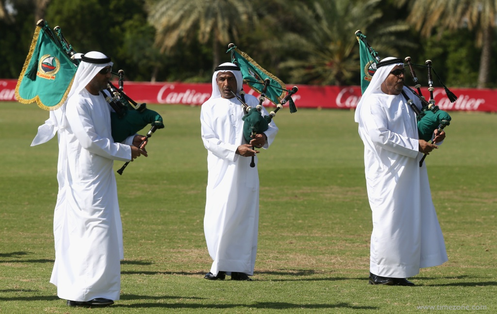 Cartier International Dubai Polo Challenge, Cartier Polo, Cartier Dubai, Dubai Police Band, Dubai bagpipes